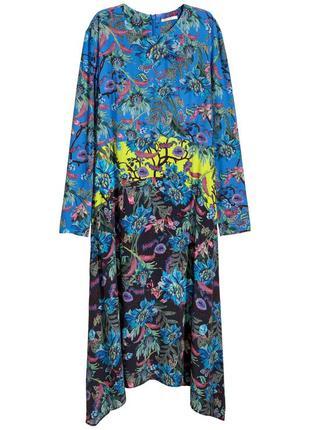 Оригинальное платье миди h&m trend с асимметричной юбкой, цветочным рисунком/как новое