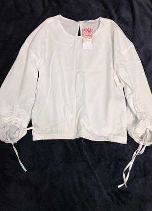 Крутая белая блуза 100% хлопок бренд haus