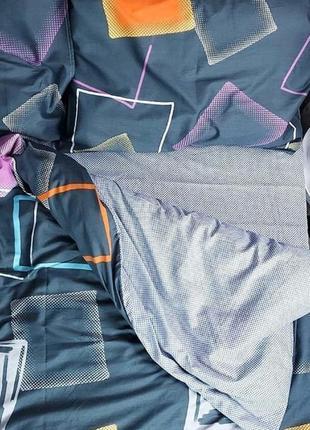 Хлопковое постельное белье разноцветные квадраты