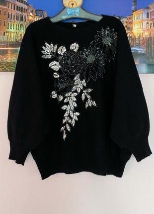 Теплая шерстяная кофта , свитер , кофта шерсть 100% в цветы с декором