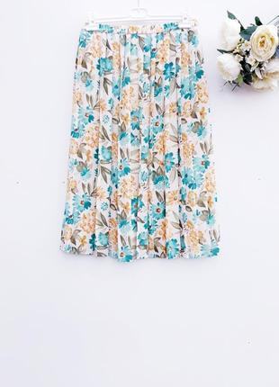 Юбка миди плиссе плиссированная юбка в цветы