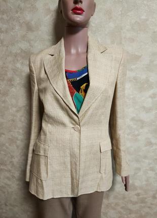 Льняной с шерстью золотисто-бежевый пиджак на одну пуговицу windsor