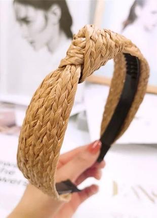Трендовый обруч ободок для волос тюрбан чалма соломенный из соломы бохо