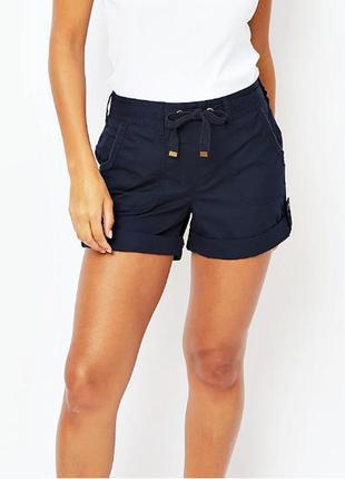 Легкие летние темно-синие шорты с карманами из чистого хлопка р.16