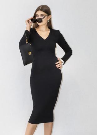 Бандажное чёрное платье
