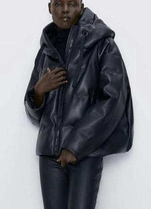 Куртка кожаная кожа капюшон синтепон теплая пуховик дутик