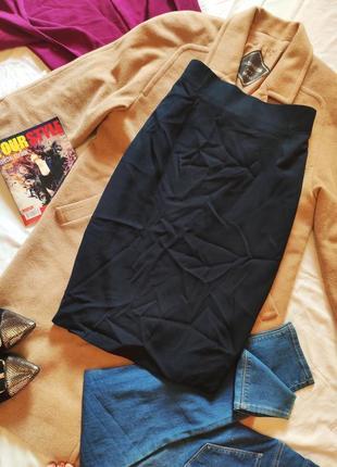 Юбка чёрная темно синяя миди классическая на подкладке со шлицей прямая новая
