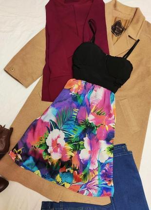 Apricot платье корсетное чёрное с цветочной юбкой