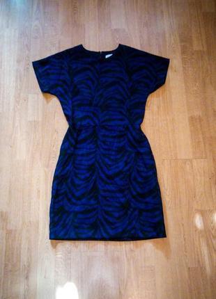 Платье синее с чёрными узорами мини оверсайз warehouse