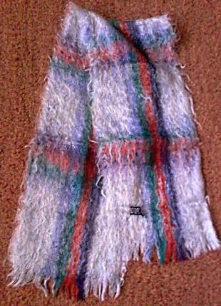 Теплый мохеровый шарф размер 140х27см , без следов носки