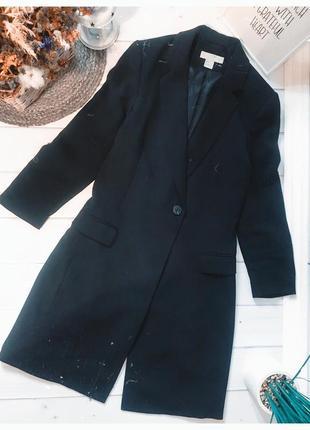 Длинный приталённый черный пиджак h&m