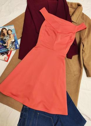 Платье коралловое морковное оранжевое с открытыми плечами миди стрейчевое атмосфера