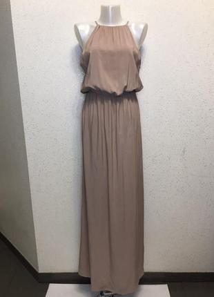 Легкое,воздушное нюдовое платье в пол