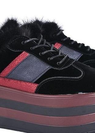 Кроссовки-кеды-сникерсы на платформе с натуральной опушкой, размер 39, новые