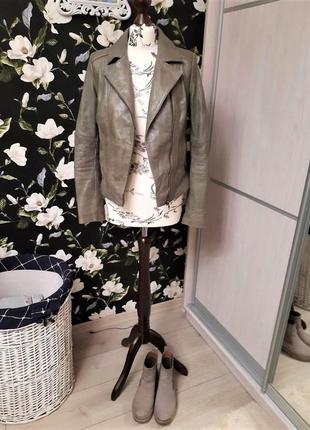 💥натуральная брендовая кожанка next, косуха, кожаная куртка стильная хаки💥