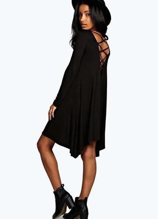 Boohoo вискозное асимметричное платье с красивой спинкой, р.8-36, s-ка