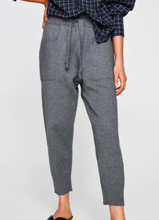 Zara укороченные мягкие штаны джоггеры спортивные вискоза