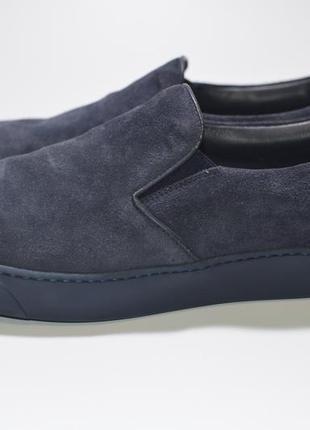 Слипоны, мокасины moncler navy suede loafers
