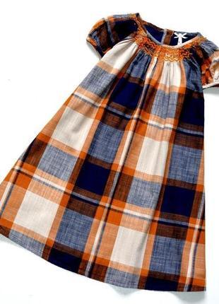 Next. платье трапецевидного фасона в клетку. 5-6 лет. рост 116 см. хлопок