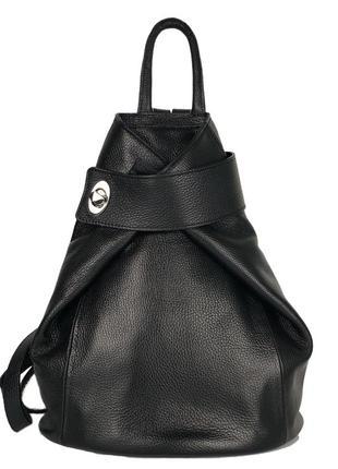 Кожаный женский рюкзак италия черный