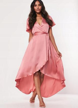 Missguided рожева атласна асиметрична максі-сукня