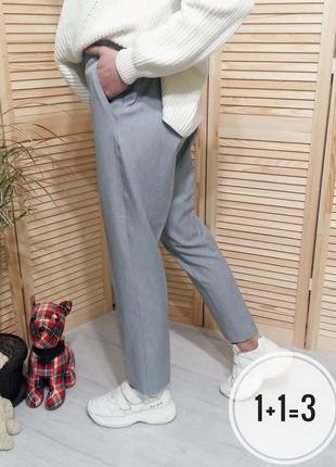 M&s брюки m прямые с карманами классика штаны зауженные бананы на талию укороченные