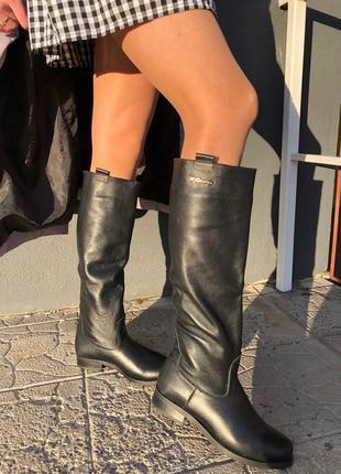 Распродажа! женские зимние сапоги трубы кожаные чёрные