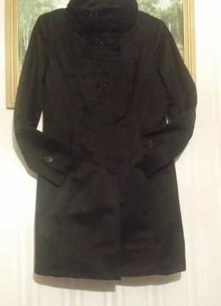 Дизайнерское,   весна , пальто/ тренч , ручная вышивка, хлопок, рр 12.