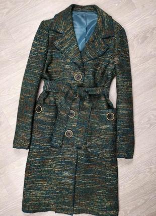 Твидовое пальто деми