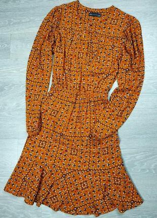 Горчичное платье в цветочек