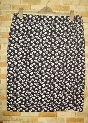 Стрейчевая юбка карандаш на резинке в принт 18/52-54 размера