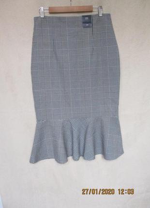Трендовая юбка в клетку с воланом по низу/демисезонная