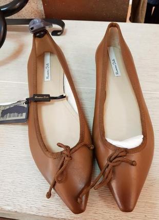 Кожаные балетки /туфли massimo dutti