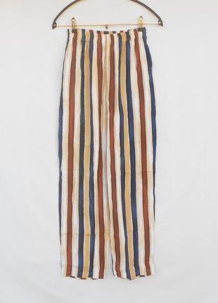 Летние высокие брюки в полоску из вискозы