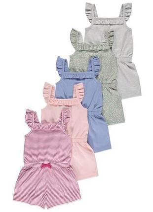 Новий набір із 5 пісочників ромпер песочник  джордж на дівчинку 18-24 місяці, розмір 86-92