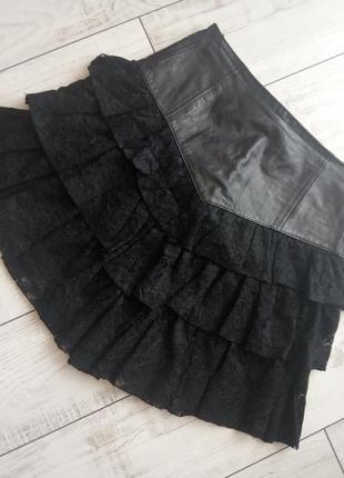 Супер юбка натуральная кожа и гипюр