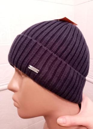 Стильная хлопковая мужсаая шапка в рубчик с отворотом