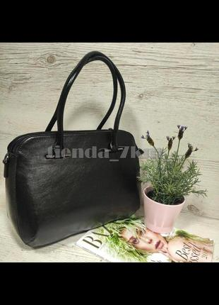 Женская повседневная глянцевая сумка (маслокожа) 2033a черная