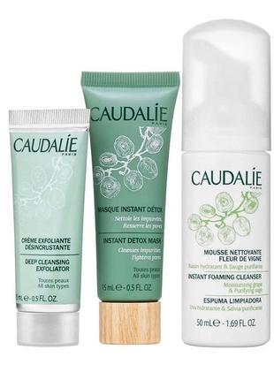 Caudalie   натуральное очищающее трио для отшелушивания, очищения и детоксикации кожи.