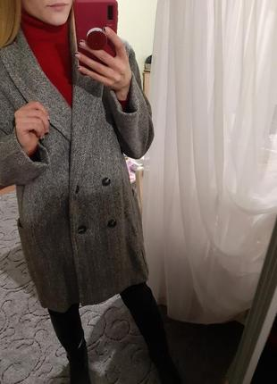 Двубортное шерстяное пальто бойфренд