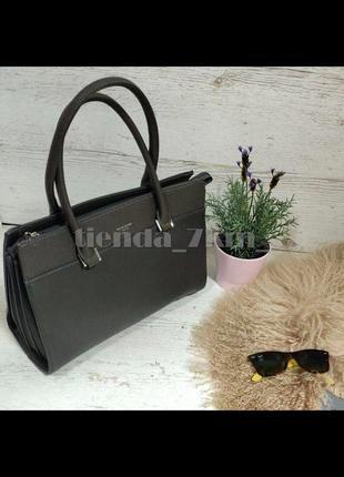 Женская офисная классическая сумка david jones 5852-1 серая