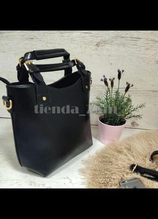 Женская вместительная сумка в стиле zara 136-2 черная