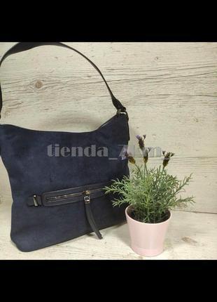 Женская сумка мешок со вставкой из искусственной замши little pigeon 11990 синяя