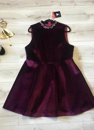 Шикарное бархатное платье by very uk18