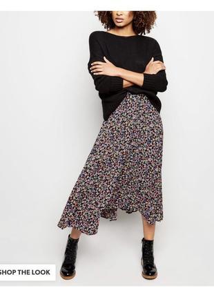 Очень стильная юбка миди плиссе в цветок