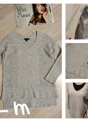 Теплющий натуральный джемпер свитер пуловер оверсайз прямого покроя