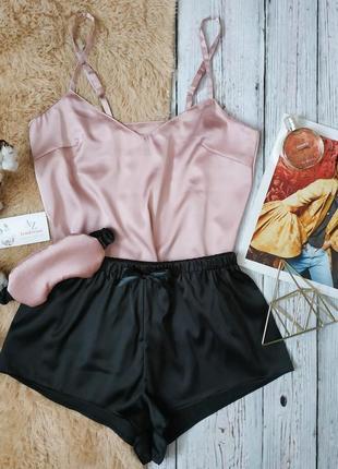 Шелковая пижама шелковый комплект майка и шорты