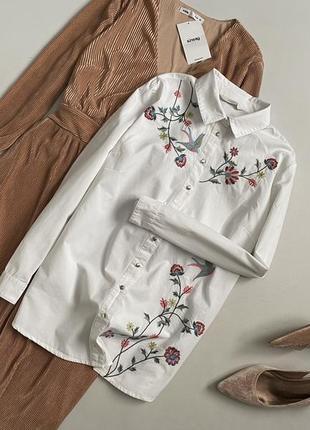 Красивейшая хлопковая рубашка с вышивкой george