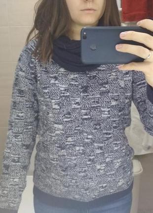 Реглан, джемпер тёмно-синий, шарф снуд (хомут) в подарок