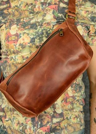 Мужская сумка бананка винтажная кожа цвет коньяк